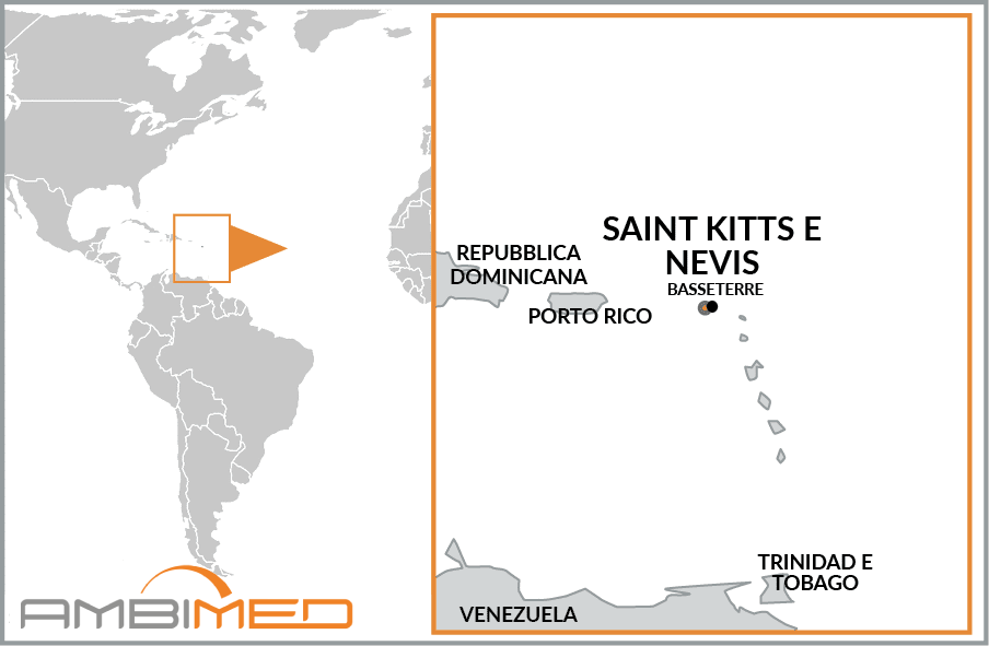 Cartina geografica della Saint Kitts e Nevis