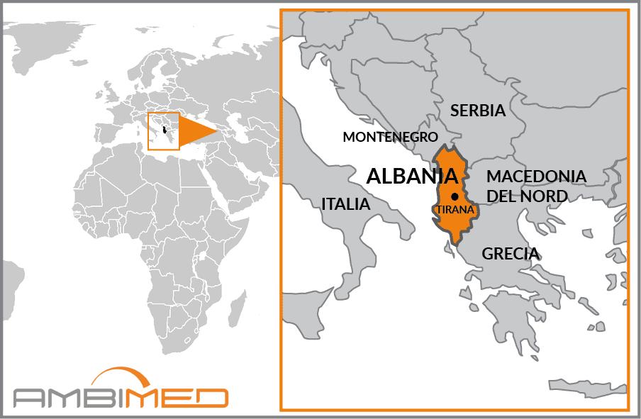 Albania Cartina Stradale.Scheda Albania Ambimed Group